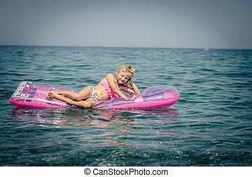 m�dchen, sitzen, rosa, aufblasbar, reizend, airbed