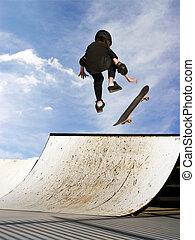 m�dchen, skateboardfahren