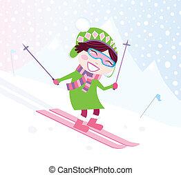 m�dchen, ski fahrend, hügel, verschneiter