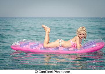 m�dchen, sonnenbaden, rosa, liegen, aufblasbar, reizend, ...