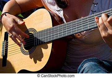 m�dchen, spiele, a, gitarre
