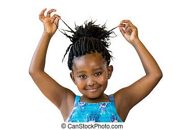 m�dchen, spielende , geflochten, hair., reizend, afrikanisch