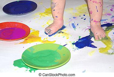m�dchen, spielende , mit, farbe