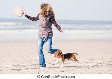 m�dchen, spielende , mit, hund