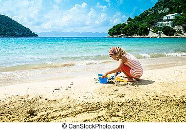 m�dchen, spielende , sand