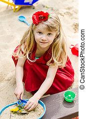 m�dchen, spielende , sandpit