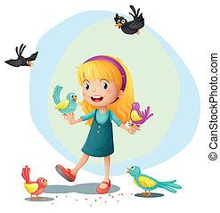 m�dchen, spielende , vögel
