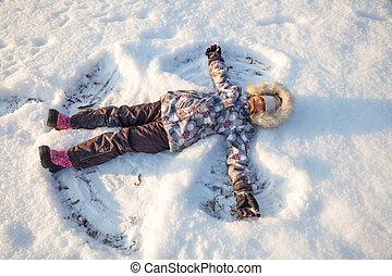 m�dchen, spielende , winter, schnee, genießen