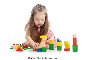 m�dchen, spielzeuge, spielen block, kind