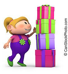m�dchen, stapeln, geschenke