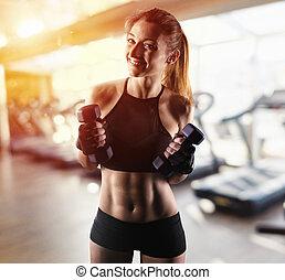 m�dchen, start, determinated, lektion, fitness, bereit, turnhalle