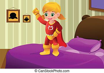 m�dchen, superhero, kostüm
