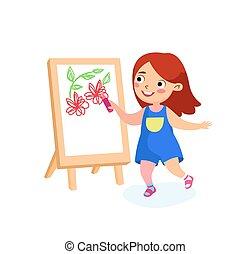 m�dchen, tag, concept., international, glücklich, kindheit, kind, oder, paper., glück, vektor, frieden, schule, gemälde, karikatur, zeichen, feiertage, easel., kinder, abbildung, zeichnung, segeltuch, zurück, blumen