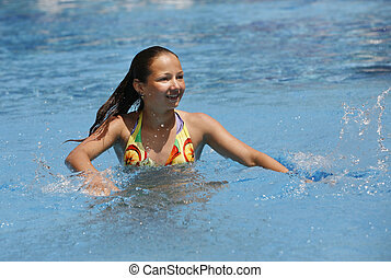 m�dchen, -, teenager, water-pool