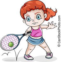 m�dchen, tennis, kaukasier, spielende