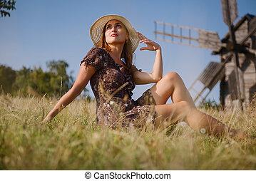 m�dchen, und, altes , windmühle