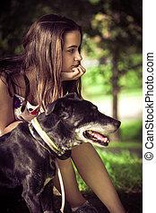 m�dchen, und, hund, porträt
