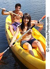 m�dchen, und, junge, canoeing, zusammen