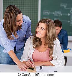 m�dchen, und, lehrer, anschauen einander, schreibtisch