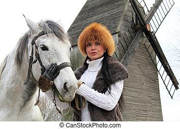 m�dchen, und, pferd