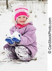 m�dchen, verschneiter , winter, draußen