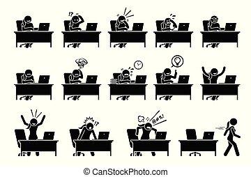 m�dchen, verwenden computers, mit, verschieden, posen, handlungen, gefuehle, und, emotions.