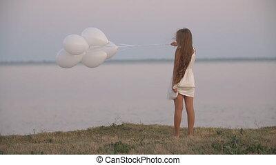 m�dchen, weißes, luftballone