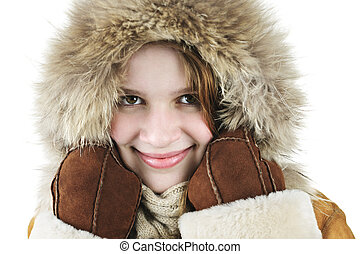 m�dchen, winter, glücklich