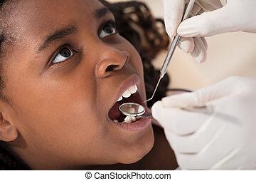 m�dchen, zahnarzt, afrikanisch
