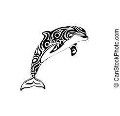 mód, ábra, törzsi, vektor, tetovál, delfin