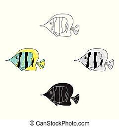 mód, állatok, illustration., karikatúra, fish, elszigetelt, háttér., vektor, angyal, fehér, ikon, jelkép, tenger, részvény