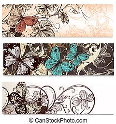 mód, állhatatos, ügy kártya, pillangók, tervezés, virágos