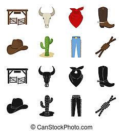 mód, állhatatos, csomó, lasso., ikonok, jelkép, web., ábra, bitmap, farmernadrág, rodeó, gyűjtés, fekete, részvény, kaktusz, kalap