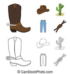 mód, állhatatos, lasso., ikonok, jelkép, karikatúra, web., ábra, bitmap, farmernadrág, rodeó, gyűjtés, csomó, részvény, kaktusz, kalap