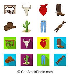mód, állhatatos, lasso., ikonok, jelkép, web., ábra, bitmap, farmernadrág, rodeó, gyűjtés, csomó, karikatúra, részvény, kaktusz, kalap