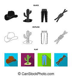 mód, állhatatos, lasso., ikonok, jelkép, web., ábra, bitmap, farmernadrág, rodeó, gyűjtés, csomó, részvény, kaktusz, fekete, kalap