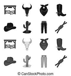 mód, állhatatos, lasso., ikonok, jelkép, web., ábra, bitmap, farmernadrág, rodeó, gyűjtés, csomó, fekete, részvény, kaktusz, kalap