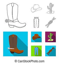 mód, állhatatos, lasso., ikonok, jelkép, web., áttekintés, ábra, bitmap, farmernadrág, rodeó, gyűjtés, csomó, részvény, kaktusz, kalap