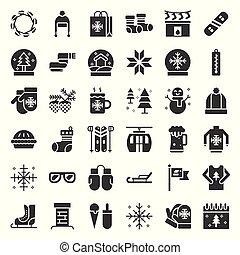 mód, állhatatos, szilárd, chirstmas, kapcsolódó, vektor, ikon