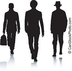 mód, árnykép, férfiak