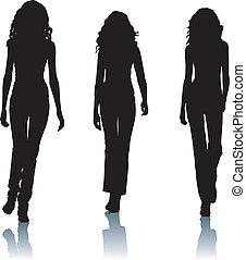 mód, árnykép, nők