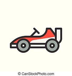 mód, áttekintés, kart, autó, editable, jár, ütés, vektor, ikon, versenyzés, vagy, megtöltött