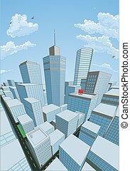 mód, épületek, komikus, karikatúra, könyv, háttér, város