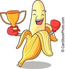 mód, ökölvívás, nyertes, banán, ízletes, friss, karikatúra, kabala