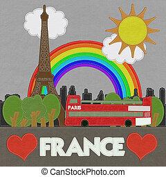 mód, öltés, eiffel, franciaország, háttér, bástya, paris., ...