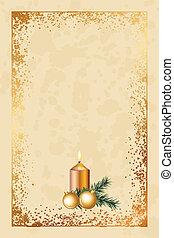 mód, öreg, karácsonyi üdvözlőlap