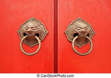 mód, ősi, ajtó bánik