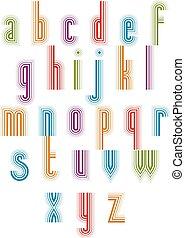 """mód, 70's, """"outer, retro, font., echo"""", csíkos, szed"""