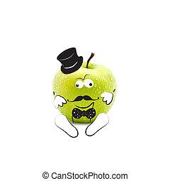 mód, alma, csípőre szabott