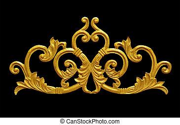mód, arany, szüret, díszítés, galvanizált, virágos